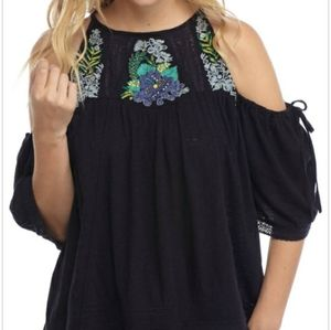 Free People Embroidered Cold Shoulder Navy Top